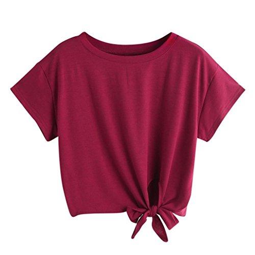 KEERADS T-Shirt Damen Sommer Bauchfrei V-Ausschnitt Stickerei Kurzarm Crop Tops Oberteile Bluse (S, Rot)
