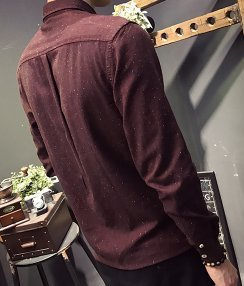 La Camicia _ Camicia A Maniche Lunghe Di Colore Lo Strato Di Base La Moda Del Cotone Claret
