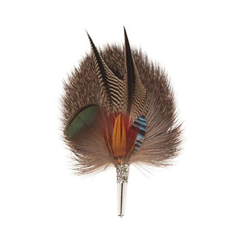 Echte Hutfeder   Hutanstecker - von Ente, Fasan, Eichelhäher, Rehfell - Handgemacht -Accessoir für den Trachtenhut - Inkl. Hülse - 12 x 7 cm