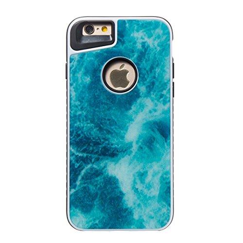 iphone 8 4.7 Custodia, iphone 7 Silicone Cover, Ekakashop Moda Lusso Marmo Modello Disegno PC & TPU 2-in-1 Epoxy Mestieri Morbido Rigida Cassa del telefono per iphone 8 3D Gel Silicone Gomma Cover, P 2-in-1--Blu