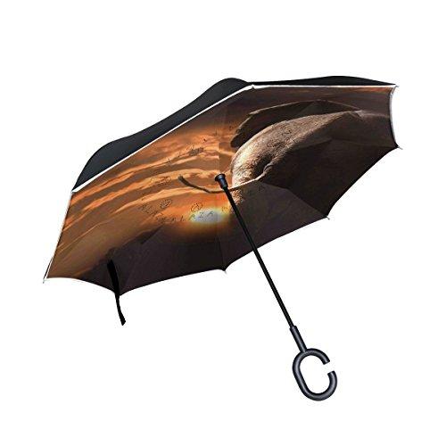 Mnsruu Paraguas invertido de doble capa con diseño de elefantes en el...