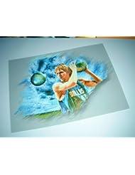 DIRK Nowitzki réplique un véritable genialer Impression d'art–directement par l'artiste 30cm x 42cm