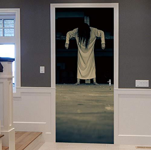 he Frau Ghost Halloween Dekoration 3d Ansicht Wand Tür Aufkleber Wohnkultur Mural77X200CM ()