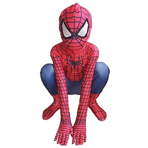 wdegr Kind Spiderman Kostüm Halloween Karneval Cosplay Party Anzug Superheld Spandex/Lycra Verkleidung,L (Muskel Mann Kostüm Für Kleinkind)