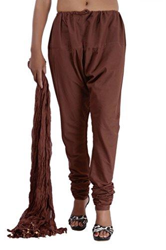 Jaipur Kala Kendra Salwar-Hose für Damen mit Dupatta-Schleier, Baumwolle Gr. Medium, braun (Salwar Baumwolle Braun)