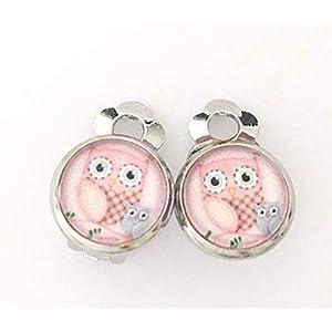 Kinder Mädchen Ohrclips/Ohrstecker Eulen rosa 10mm Motiv Eule Mama + Kind Cabochon Ohrringe handgefertigt by…