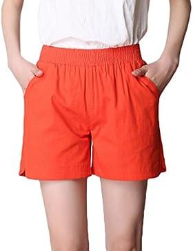 YiLianDa Moda Mujer Verano Señora Casual Pantalones Cortos Beach High Waist