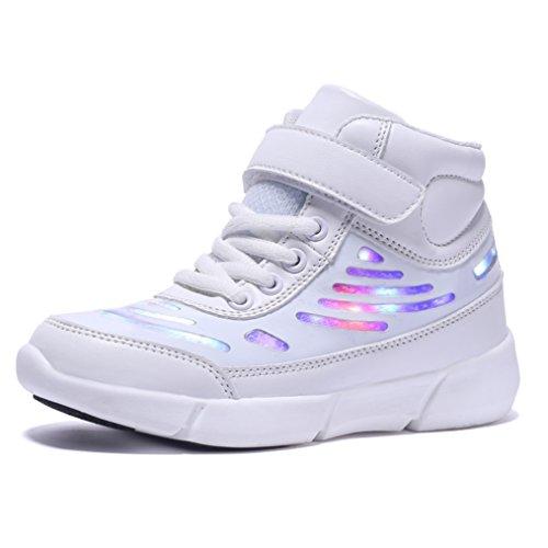 Ufatansy Kinder High-Top Schuhe LED leuchten Sneakers blinken USB Lade Schnürschuhe für Jungen Mädchen (EU29, White)