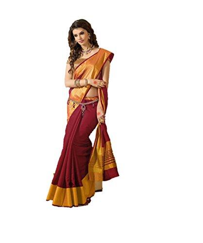 Indianbeauty Raw Silk Saree (Tussar Pallu Maroon_Maroon)