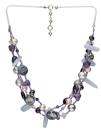 Dew - Collana multifilo in argento sterling, dimensioni: 42.7 cm - 45.7cm, argento, colore: viola, cod. 25