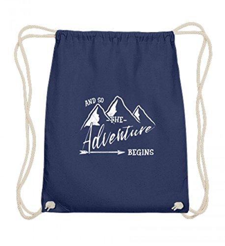 Shirtee Hochwertige Baumwoll Gymsac - Das Abenteuer beginnt - Für alle Bergwanderer, Wandersleute, Abenteurer und Reisende (Alpine Pfeil)