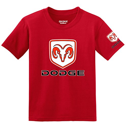 Dodge Logo with Sleeve T-shirt, Small Red (Dodge Camo Hoodie)