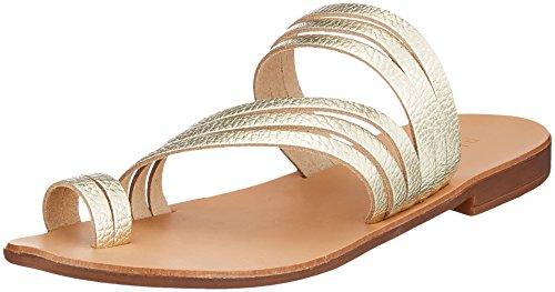 Pieces Women's Psmavis Leather Sandal Open Toe (Gold Colour), 6 UK