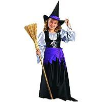 CoolParty - Disfraz de bruja para niña, talla 7 años (H023-003)