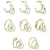 Finrezio 24 Pcs 20G 316L Edelstahl Ring Piercing für Frauen Männer Nasenring Knorpel Ohrring Set Goldton
