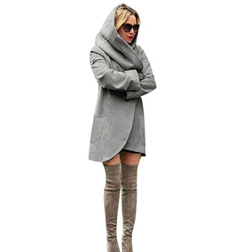 Manadlian Femme Manteaux à Capuche Longue Sweatshirt Hiver Hoodie Veste Jacket Gris foncé