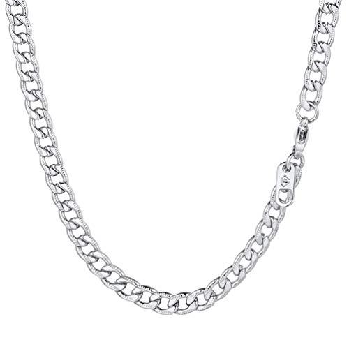 PROSTEEL Herren Panzerkette 5mm breit Edelstahl Rändel-Design Halskette Gliederkette 55cm/22 Kettelänge Geschenk für Männer Jungen Geburtstag Vatertag