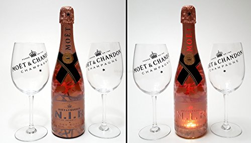 Moet & Chandon Set - Moet & Chandon Nectar Imperial Rose 75cl (12{d76673e2972c42534db31764b19a55259e0bf53cd4156e5ff4c66822b8cd0d3f} Vol) mit Beleuchtung + 2x Ballon Gläser