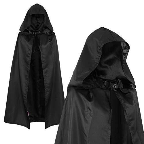 Vampir Cape Kind Kostüm - papapanda Schwarz Umhang Kapuze Sensenmann Dämon Vampir Tot Cape für Kinder 100cm