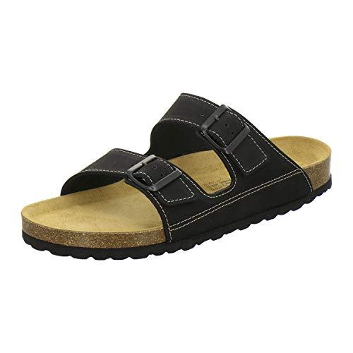 AFS-Schuhe 3110 sportliche Herren Pantoletten Leder, Bequeme Hausschuhe Korkfussbett, Made in Germany Größe 43 EU Schwarz (schwarz)