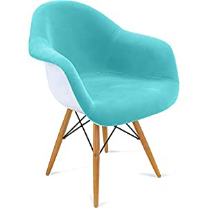 chaise daw charles eames style tissu turquoise cuisine maison. Black Bedroom Furniture Sets. Home Design Ideas