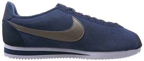 Nike Herren Classic Cortez Leather Laufschuhe, Weiß, 44 EU Azul / Silberfarben / Weiß (Squadron Blue / Mtlc Pwtr-White)
