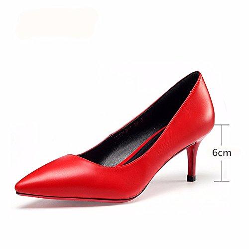 HXVU56546 Primavera E Autunno Scarpe Con I Tacchi Alti La Moda Scarpe A Punta Professional Scarpe Donna Bocca Poco Profonda Red