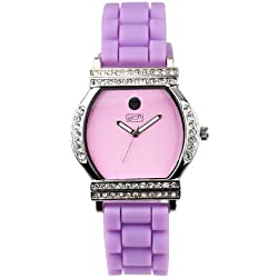 Eton Women's Quartz Watch with Purple Dial Analogue Display and Purple Silicone Strap 2999J-LC