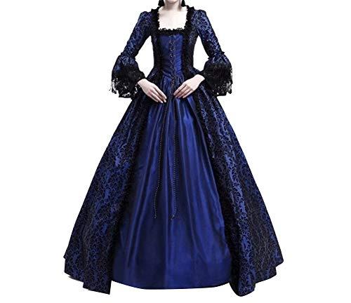 Vampir Kostüm Königin Mädchen - Damen Kleider Luxuriös Rüschen Schnüren Aufflackern Hülsen Karneval Kostüm Frauen Gothic Palast Königin Vampir Cosplay Kostüme L Marine