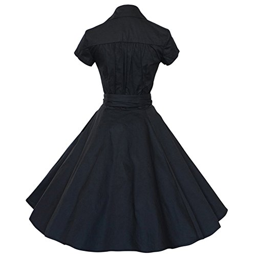 E-Girl M120718D Robe de bal Vintage pin-up 50's Rockabilly robe de soirée cocktail,S-XXXXL Noir