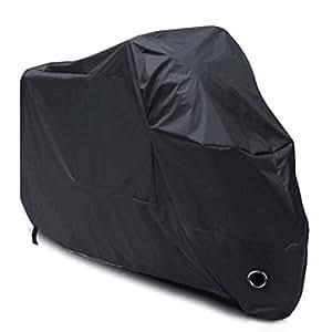 Telo Coprimoto Impermeabile(un anno di garanzia), LIHAO 190T Copri Scooter Moto Antipolveri Anti-UV per Esterni, con Sacca per il Trasporto, Colore: Nero