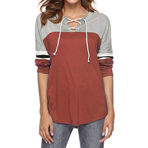 Fghyh Damen Sweatshirt Langarm ShirtFrauen-beiläufige Lange Hülsen-Normallack-blockierende gestreifte V-Ansatz Blusenspitzen(L, Kaffee)