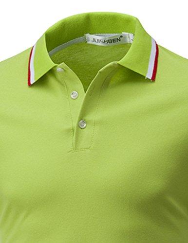 LIANIHK Polo Herren Poloshirt Einfarbig kurzarm M - 3XL Grün