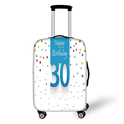 Travel Luggage Cover Suitcase Protector,30th Birthday Decorations,Stylized Banner with Hand Writing and Confetti Like Polka Dots,Multicolor,for Travel L