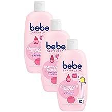 bebe Zartpflege Shampoo & Dusche / Sanfte Duschpflege mit angenehmem Duft  für Baby Haut / Brennt nicht in den Augen / 3 x 200ml