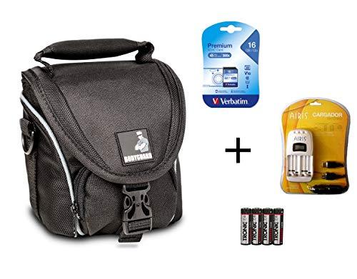 �r Nikon Coolpix L330 L340 L840 B500 : Tasche + 16GB SD Speicherkarte + Ladegerät für AA Akkus + 4X NiMH Akkus ()