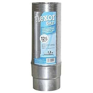 Flexible FLEXOR gaz diamètre 125/132 extensible jusqu'à 1,50m + raccord 644125