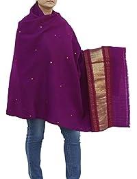 Châle de laine à la main brodé Accessoire pour femmes indiennes 84X36 pouces Vin pourpre