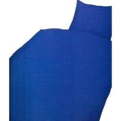 Leonado Vicenti 2 TLG. Bettwäsche Microfaser 135x200 cm Uni einfarbig Blau Garnitur Bezug Set