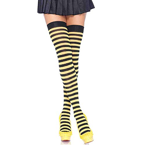 Schwarz Kostüm Und Gelb - LEG AVENUE 6005 - Overknee Halterlose Strümpfe Mit Streifen, Einheitsgröße (EUR 36-40), schwarz/gelb, Damen Karneval Kostüm Fasching