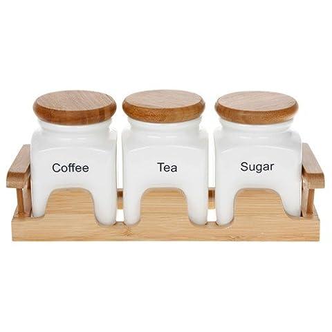 White Tea Coffee & Sugar Caddy Set on a Bamboo Tray by Joe (Rose Garden Di Bambù)