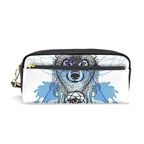 CPYang - Estuche de piel con cremallera, diseño de lobo atrapasueños