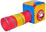 studio four - Spielwürfel mit faltbarem Tunnel, 75x75x88 cm , Mehrfarbig