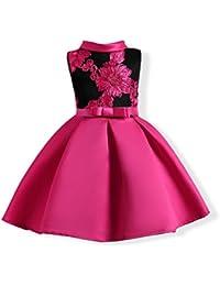 UOMOGO Royal Bambina Filati Netti Ricamo Fiore Vestiti Da Cerimonia  Eleganti Senza Maniche Matrimonio Partito Comunione 629421dec66