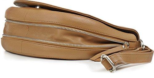 PHIL+SOPHIE, Cuir, Sac bandoulière, Sac de Selle, Sac porté main Femme, Sac porté épaule Femme, 24,5 x 20 x 7 cm Beige