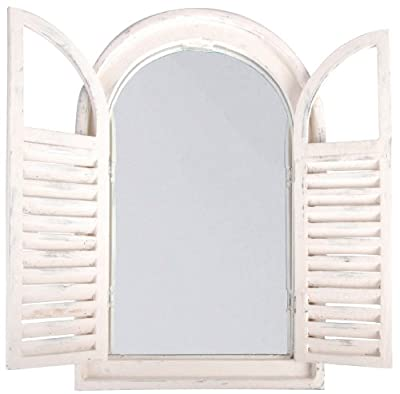 Esschert Design WD05 37 x 5 x 59cm Wood and Glass Antique Mirror with French Doors - White
