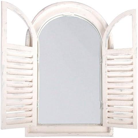 Esschert Design WD0537x 5x 59cm, madera y cristal envejecido espejo con francés puertas–blanco