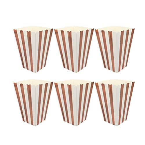 STOBOK Popcorn Boxen,Mini Rose Gold und weißen Streifen Papier Popcorn Container Party Supplies,11.5 x 7 x 5cm,12 Stück -