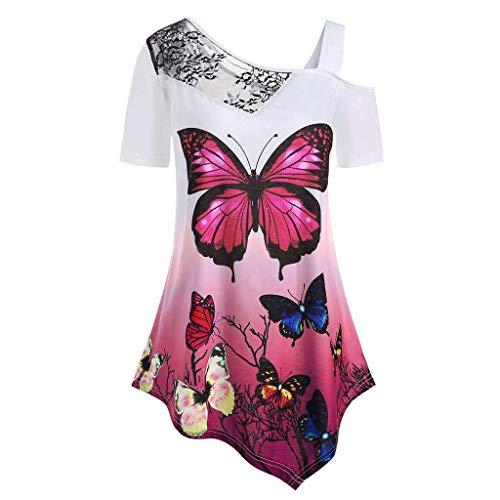 CixNy Damen T Shirts,beiläufige lose Tunika Tops Kurzarm T Shirt Blusen Weste Damen Vest Sommer Freizeit Short Sleeve Butterfly Print Plus Size Lace Panel Schulterfrei Oberteile ()