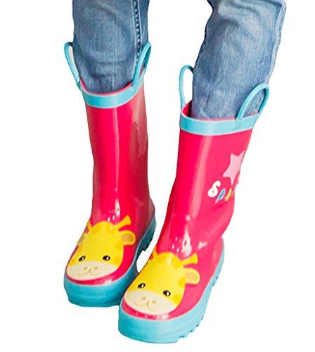 Bigood Botte de Pluie Enfant Caoutchouc Chaussures Animaux Imprimé Casual Mignon Rose Rouge